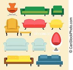 vivant, meubles, salle, idées