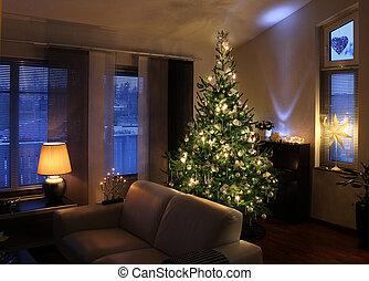vivant, moderne, arbre, salle, noël