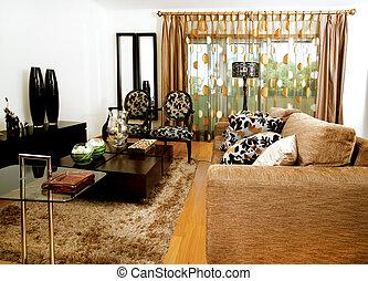 vivant, moderne, conception, salle, meubles