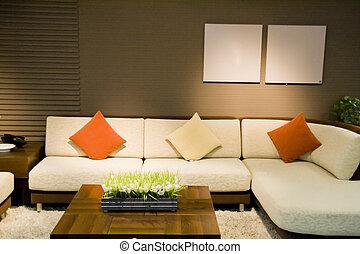 vivant, moderne, luxe, salle