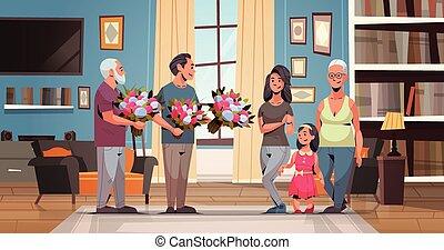 vivant, multi, concept, mars, salle, famille, plat, génération, hommes, longueur, féliciter, donner, femmes, entiers, international, intérieur, 8, horizontal, fleurs, jour, heureux