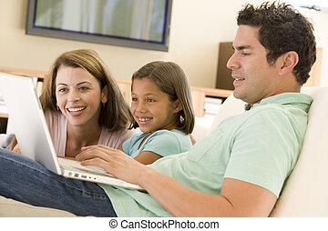 vivant, ordinateur portable, salle, famille, sourire
