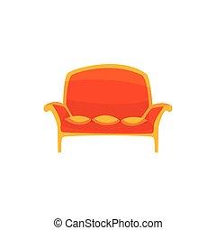 vivant, oreillers, salle, bureau, sofa, vendange, illustration, ou, vecteur, intérieur, relaxation, dessin animé, rouges, meubles