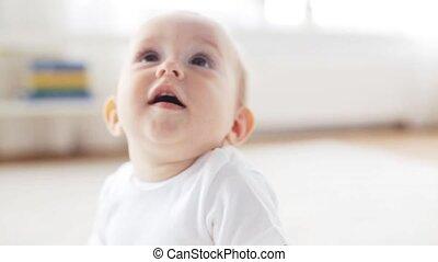 vivant, peu, salle, séance, 13, bébé, maison, heureux