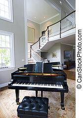 vivant, piano, salle, grandiose