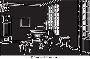 vivant, piano, salle