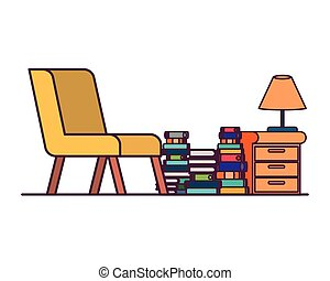 vivant, pile, livres, salle, divan
