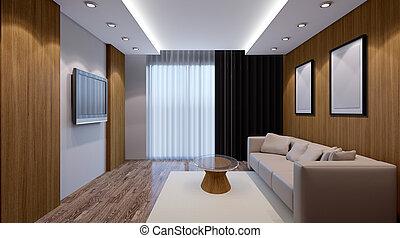 vivant, render, room., bureau., moderne, intérieur, 3d
