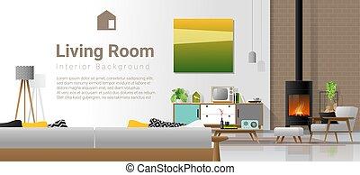 vivant, retro, cheminée, salle, meubles modernes, fond, style, 2, intérieur