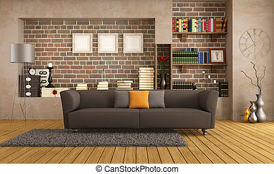 vivant, salle moderne, divan, vendange