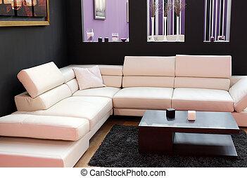 vivant, salle moderne, meubles