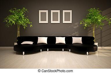 vivant, salle moderne, minimal