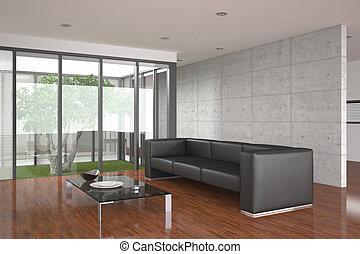 vivant, salle moderne, parquet