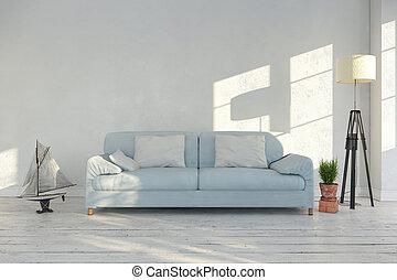 Vivant, salle,  render,  -, Scandinave, intérieur,  3D
