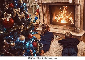vivant, soeur, salle, frère, dos, noël., vue, décoré, suivant, cheminée, chauffage