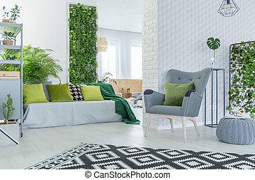 vivant, sofa, salle, fauteuil