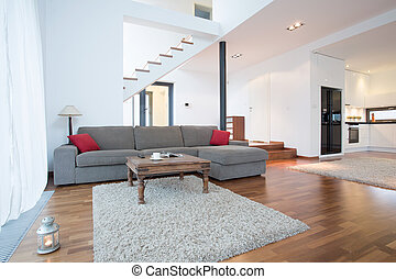 vivant, sofa, salle, gris