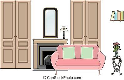 vivant, sofa, salle rose