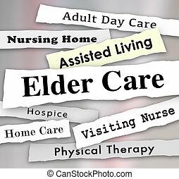 vivant, soins, aidé, illustration, aîné, hospice, maison, gros titres, soin, 3d