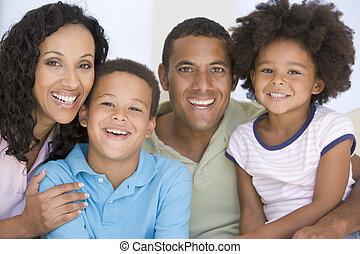 vivant, sourire, salle, famille