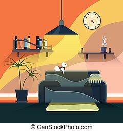 vivant, style, salle, plat, moderne, conception, intérieur