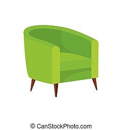 vivant, tapisserie ameublement, furniture., plat, fauteuil bois, amorti, room., clair, vecteur, vert, legs., chaise, doux