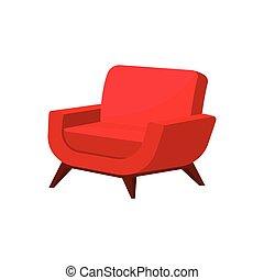 vivant, tapisserie ameublement, plat, fauteuil bois, room., clair, vecteur, chair., legs., élégant, meubles, doux, rouges, icône