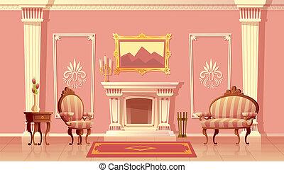 vivant, vecteur, cheminée, salle, luxe