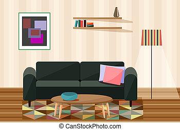 vivant, vecteur, illustration, salle