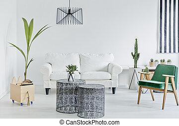 vivant, vert, salle, fauteuil