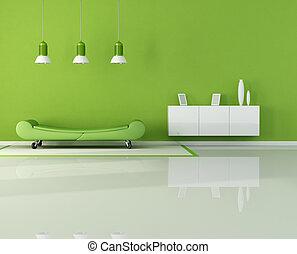 vivant, vert, salle