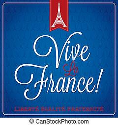 """""""Vive La France"""" Bastille Day card in vector format."""