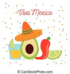 vive mexico avocado hat chili tequila and lemon