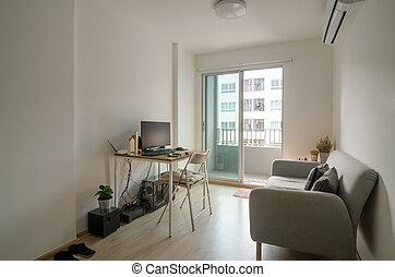 vivendo, apartamento, sala, trabalhando, área