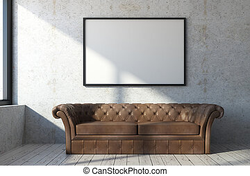 vivendo, bandeira, sala, sofá