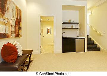 vivendo, banheiro, sala, escadaria, bar.