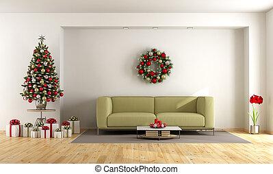 vivendo, branca, árvore, sala, natal