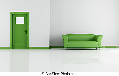 vivendo, branca, verde, sala