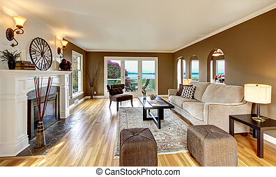 vivendo, brown., sala, marrom, clássicas, branca, lareira