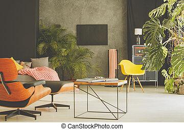 vivendo, cadeira, sala, amarela