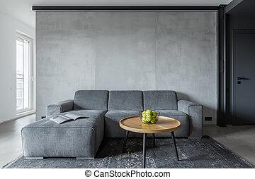 vivendo, cinzento, sala, sofá