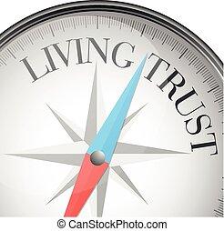 vivendo, confiança, compasso