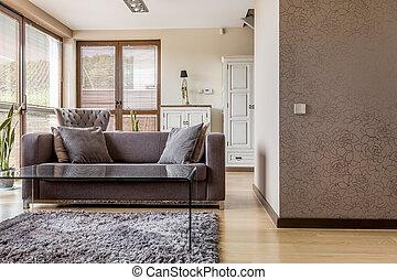 vivendo, confortável, sala, sofá