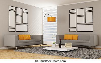 vivendo, contemporâneo, sala