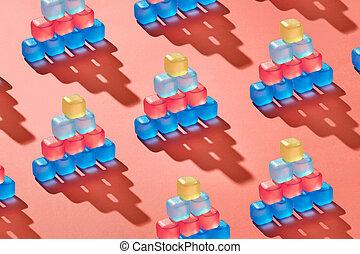 vivendo, cubos, coloridos, tendência, padrão, coral, piramides, gelo, plástico, cor, 2019, pantone., fundo, ano, criativo