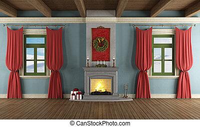 vivendo, decoração, xmas, sala, luxo
