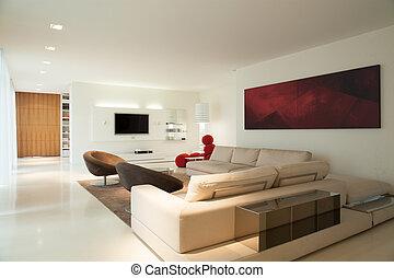 vivendo, desenho, contemporâneo, sala
