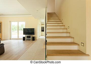 vivendo, espaçoso, escadaria, sala