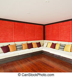 vivendo, estilo, quarto moderno, asiático