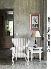vivendo, estilo, sala, modernos, desenho, interior